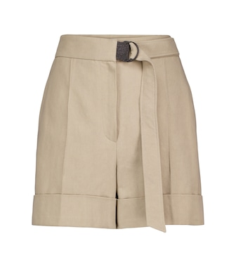 Brunello Cucinelli - Embellished cotton and linen shorts - mytheresa.com