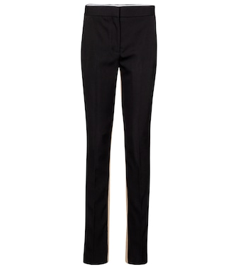 Burberry - Exclusive to Mytheresa – High-rise wool and cotton slim pants - mytheresa.com