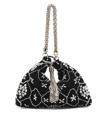 Jimmy Choo - Callie crystal-embellished suede clutch - mytheresa.com