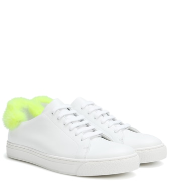 Anya Hindmarch - Fur-trimmed leather sneakers - mytheresa.com