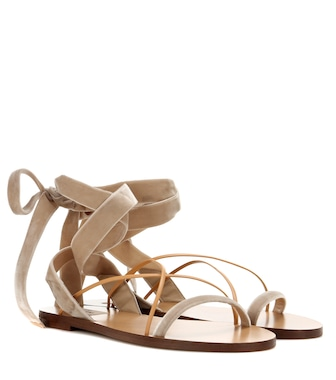 Valentino - Valentino Garavani velvet and leather sandals - mytheresa.com