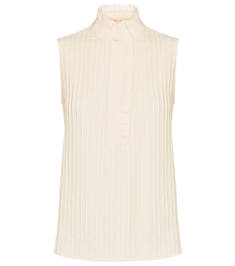Tory Burch - Pintucked crêpe blouse - mytheresa.com