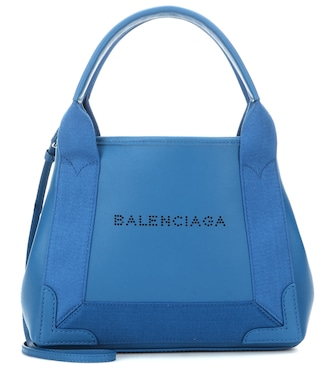 Balenciaga - Navy Cabas XS leather shoulder bag - mytheresa.com