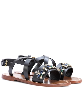 Marni - Embellished leather sandals - mytheresa.com