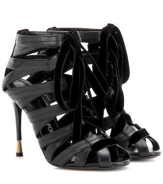 Tom Ford - Velvet-trimmed leather sandals - mytheresa.com
