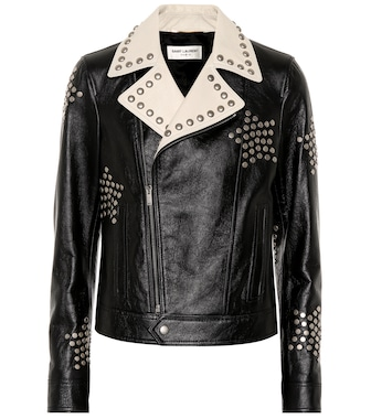 Saint Laurent - Studded leather biker jacket - mytheresa.com