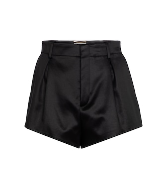 Saint Laurent - High-Rise Shorts aus Satin - mytheresa.com