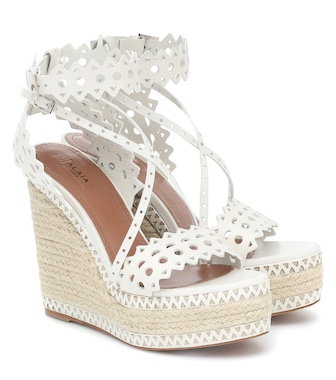 Alaïa - Leather platform espadrille sandals - mytheresa.com