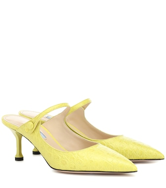 Prada - Croc-embossed leather mules - mytheresa.com