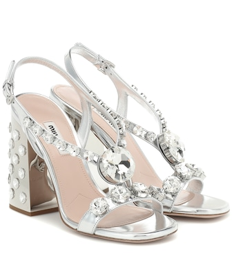 Miu Miu - Embellished metallic leather sandals - mytheresa.com