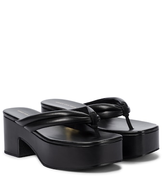 Dries Van Noten - Platform leather thong sandals - mytheresa.com