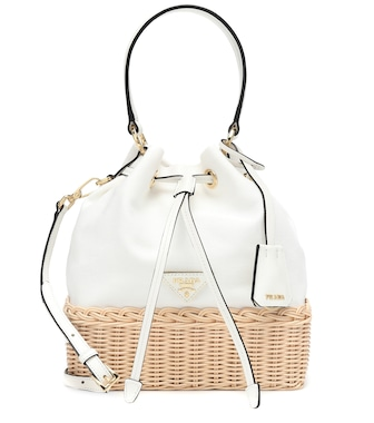 Prada - Wicker and canvas tote - mytheresa.com