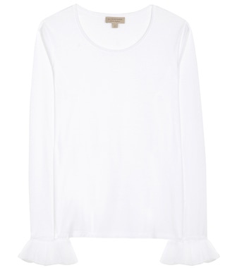 Burberry - Cotton top with tulle - mytheresa.com