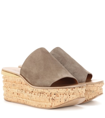 Chloé - Camille suede wedge mules - mytheresa.com