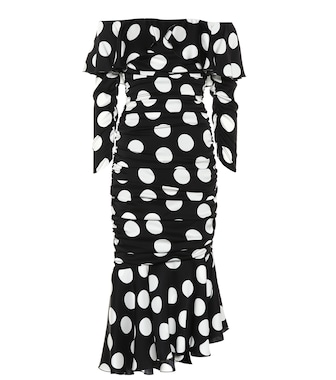Dolce & Gabbana - Polka-dot stretch silk dress - mytheresa.com