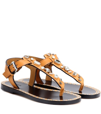 Isabel Marant - Jinkel embellished leather sandals - mytheresa.com