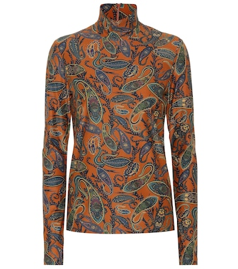 Chloé - Printed stretch turtleneck top - mytheresa.com