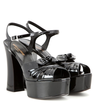 Saint Laurent - Candy 80 patent leather platform sandals - mytheresa.com