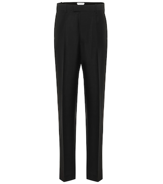 Bottega Veneta - High-rise slim mohair-blend pants - mytheresa.com