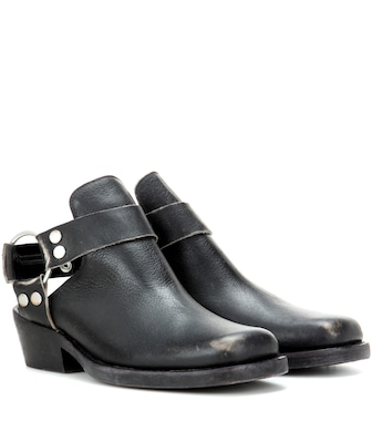 Balenciaga - Cut-out leather ankle boots - mytheresa.com