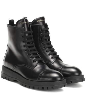 Prada - Leather ankle boots - mytheresa.com