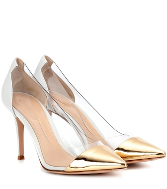 Gianvito Rossi - Plexi transparent and leather pumps - mytheresa.com