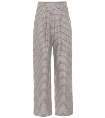 Brunello Cucinelli - Checked linen, wool and silk wide-leg pants - mytheresa.com