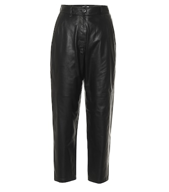 Brunello Cucinelli - High-rise cropped leather pants - mytheresa.com