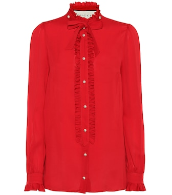 Gucci - Embellished silk blouse - mytheresa.com