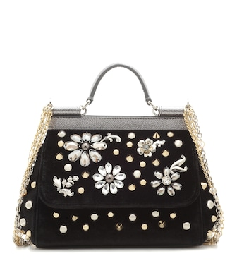 Dolce & Gabbana - Sicily Small embellished velvet shoulder bag - mytheresa.com