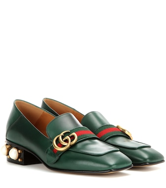Gucci - Leather mid-heel loafers - mytheresa.com
