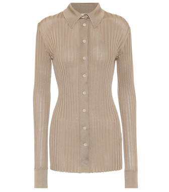 Bottega Veneta - Ribbed-knit silk shirt - mytheresa.com