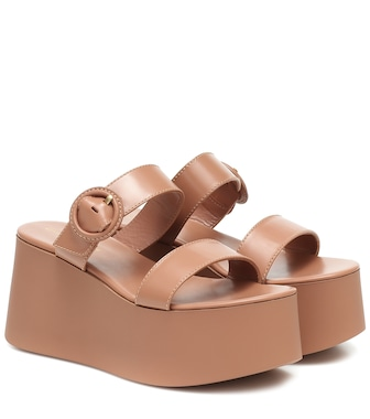 Gianvito Rossi - Leather platform sandals - mytheresa.com
