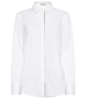 Brunello Cucinelli - Embellished cotton-blend shirt - mytheresa.com