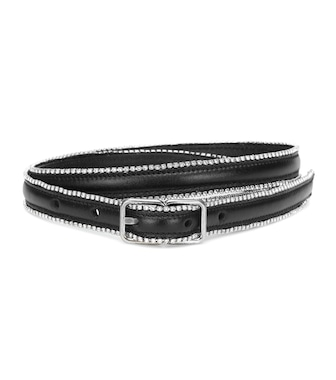 Saint Laurent - Crystal-embellished leather belt - mytheresa.com
