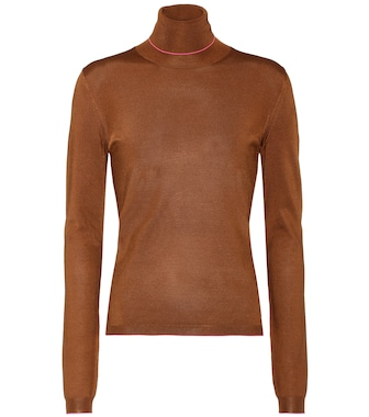 Bottega Veneta - Stretch-silk turtleneck - mytheresa.com