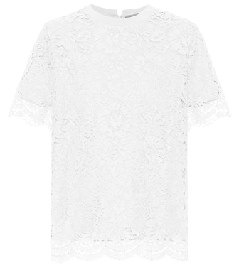 Valentino - Cotton and lace top - mytheresa.com