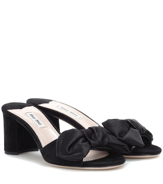 Miu Miu - Suede and satin sandals - mytheresa.com