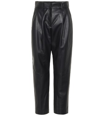 Brunello Cucinelli - High-rise straight leather pants - mytheresa.com