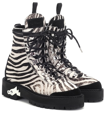 Off-White - Zebra-effect calf hair ankle boots - mytheresa.com