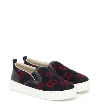 Gucci Kids - GG wool-felt slip-on sneakers - mytheresa.com