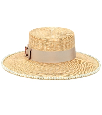 Gucci - Embellished straw hat - mytheresa.com