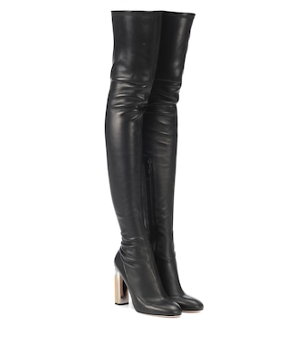 Alexander McQueen - Leather over-the-knee boots - mytheresa.com