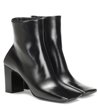 Balenciaga - Double Square leather ankle boots - mytheresa.com