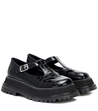 Burberry - Aldwych croc-effect leather flats - mytheresa.com