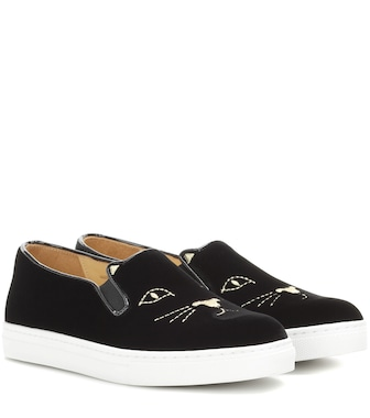 Charlotte Olympia - Slip-ons Cool Cats aus Samt - mytheresa.com