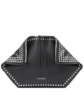 Alexander McQueen - De Manta leather clutch - mytheresa.com
