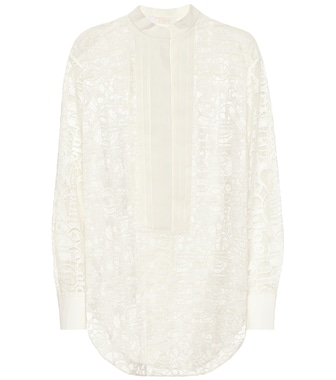 Chloé - Logo cotton-blend lace shirt - mytheresa.com
