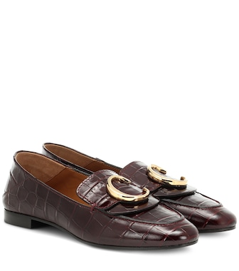 Chloé - Chloé C croc-effect leather loafers - mytheresa.com