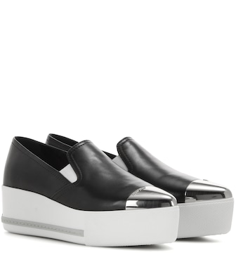 Miu Miu - Leather slip-on platform sneakers - mytheresa.com